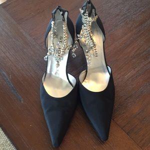 St John black rhinestone heels